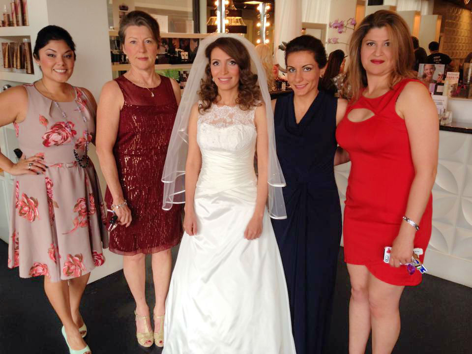 hair and makeup for the entire bridal party in salon