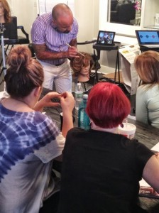 Kerastase Key Educator Carlo Novoa teaching the art of Sombre